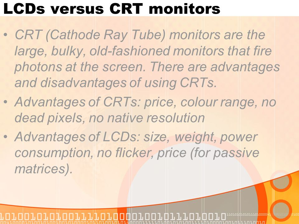 LCDs versus CRT monitors
