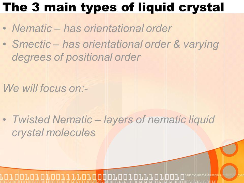 The 3 main types of liquid crystal
