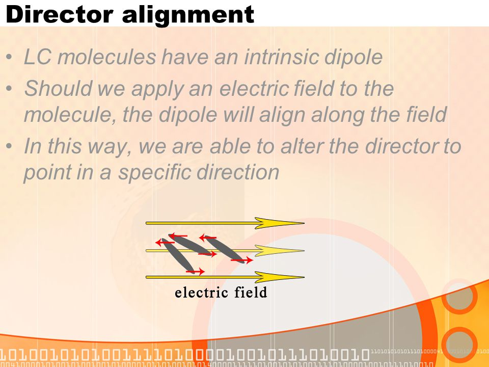 Director alignment LC molecules have an intrinsic dipole