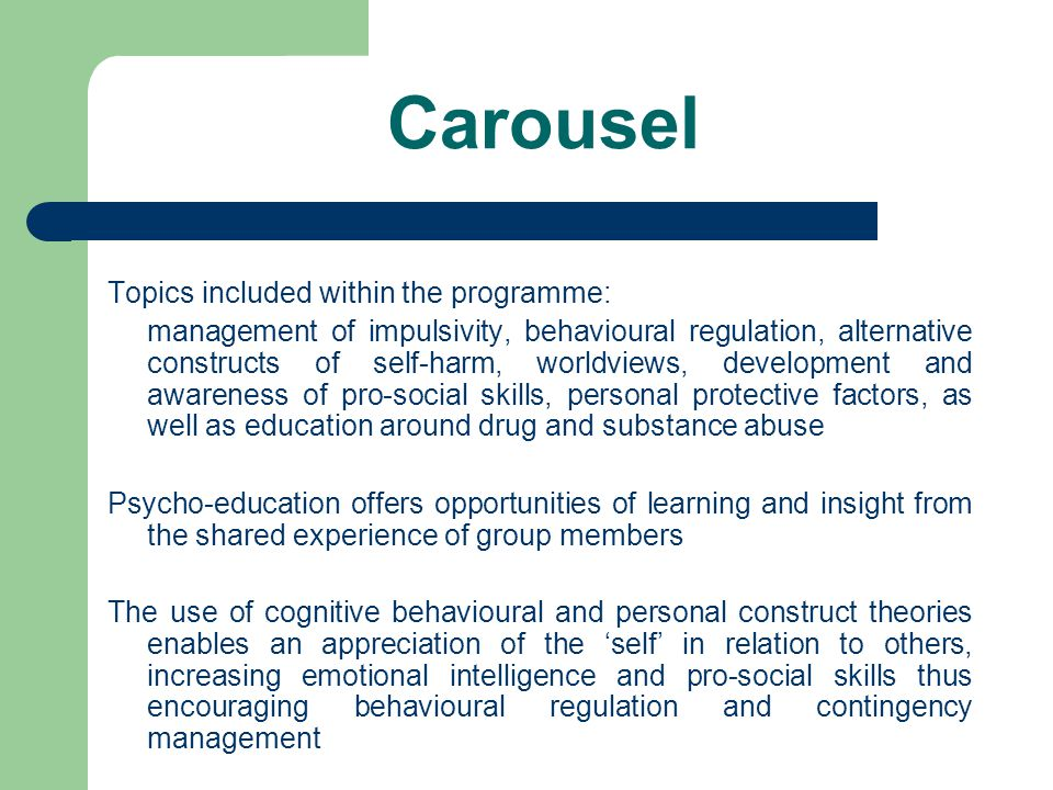 Carousel Topics included within the programme: