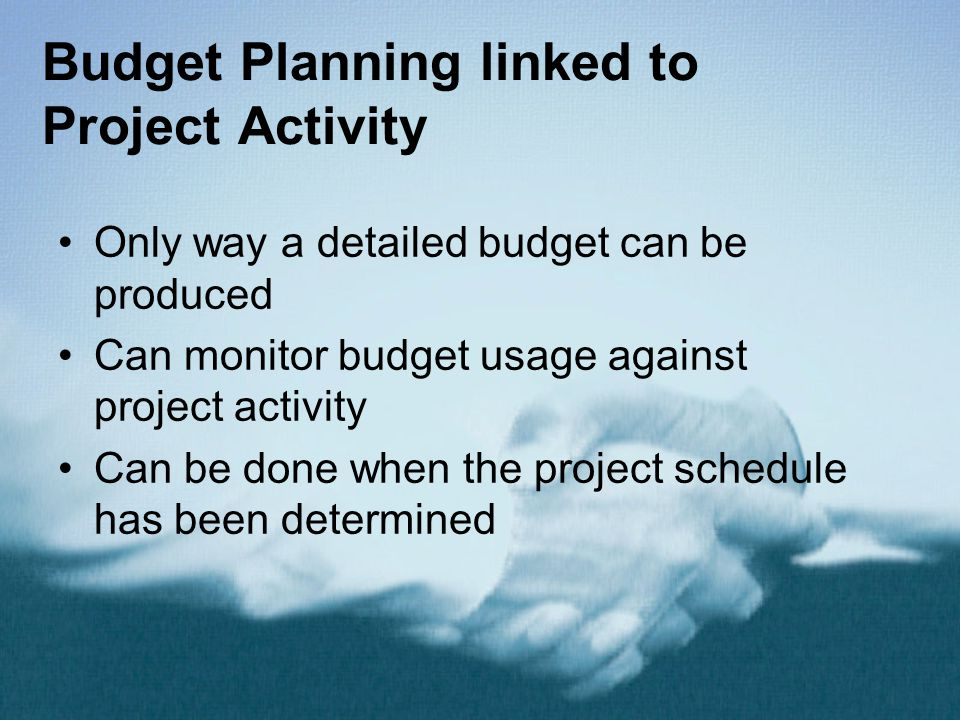 Budget Planning linked to Project Activity