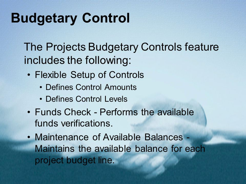 Budgetary Control The Projects Budgetary Controls feature includes the following: Flexible Setup of Controls.