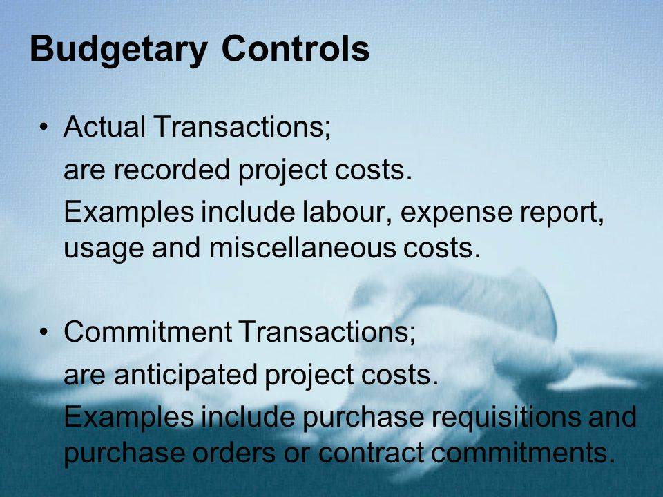 Budgetary Controls Actual Transactions; are recorded project costs.