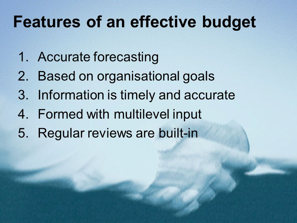 Features of an effective budget