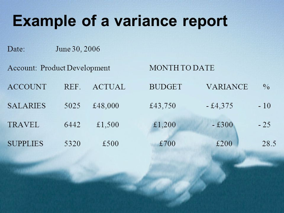 Example of a variance report
