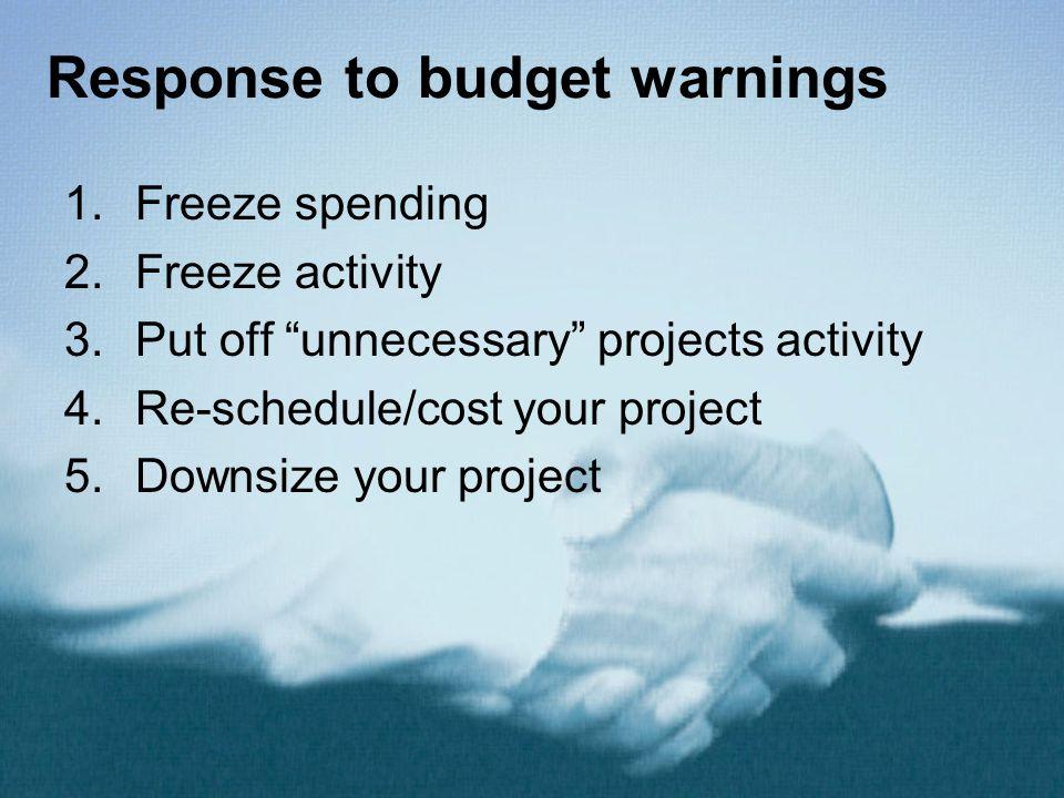 Response to budget warnings