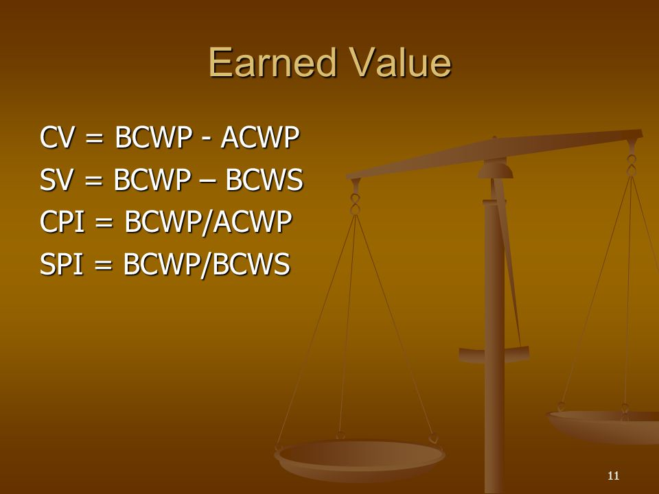 Earned Value CV = BCWP - ACWP SV = BCWP – BCWS CPI = BCWP/ACWP