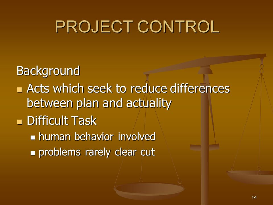 PROJECT CONTROL Background