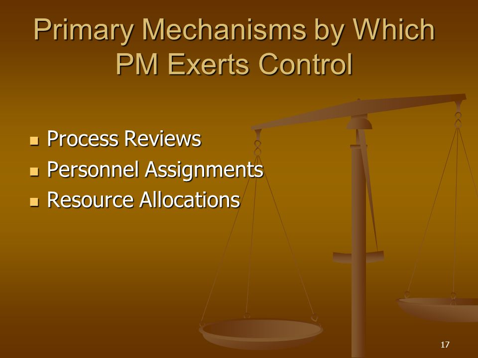 Primary Mechanisms by Which PM Exerts Control