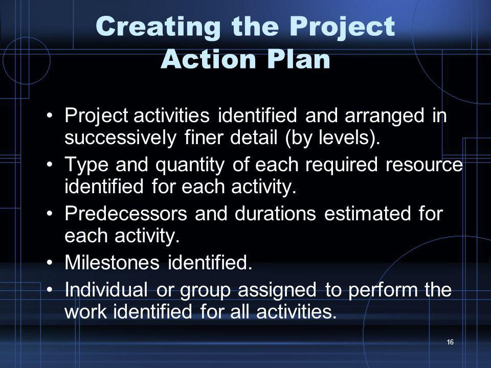 Creating the Project Action Plan