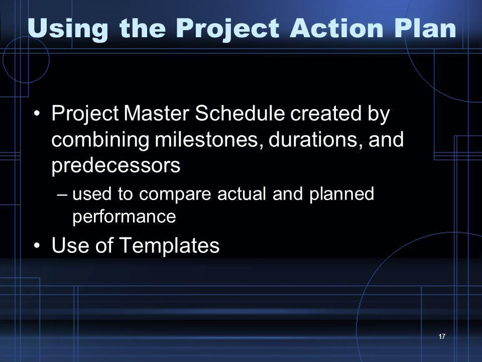 Using the Project Action Plan