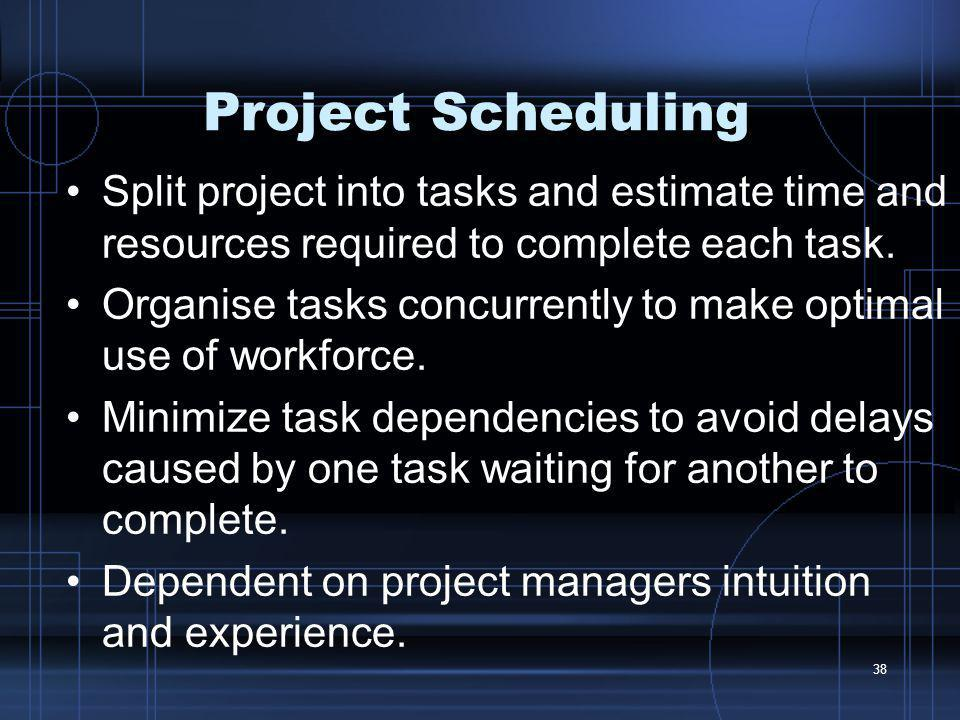 Project Scheduling Split project into tasks and estimate time and resources required to complete each task.