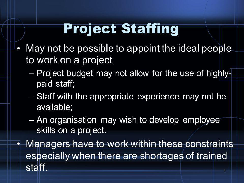 Project Staffing May not be possible to appoint the ideal people to work on a project.