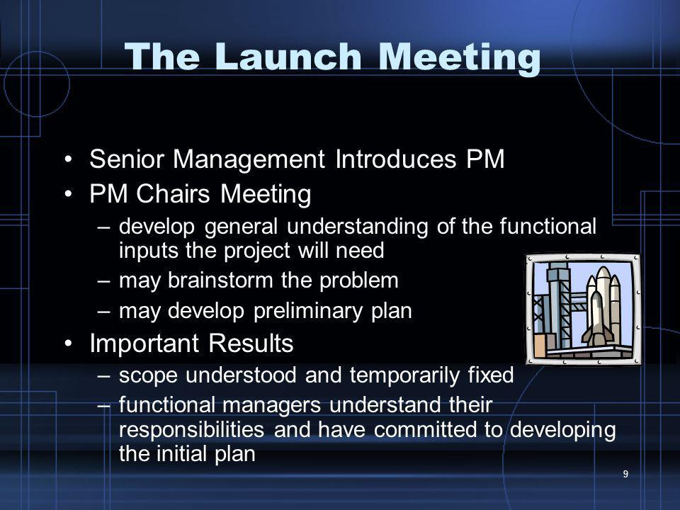 The Launch Meeting Senior Management Introduces PM PM Chairs Meeting