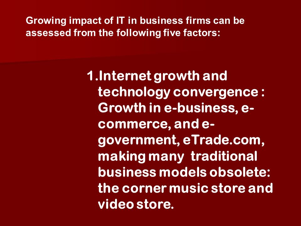 Growing impact of IT in business firms can be