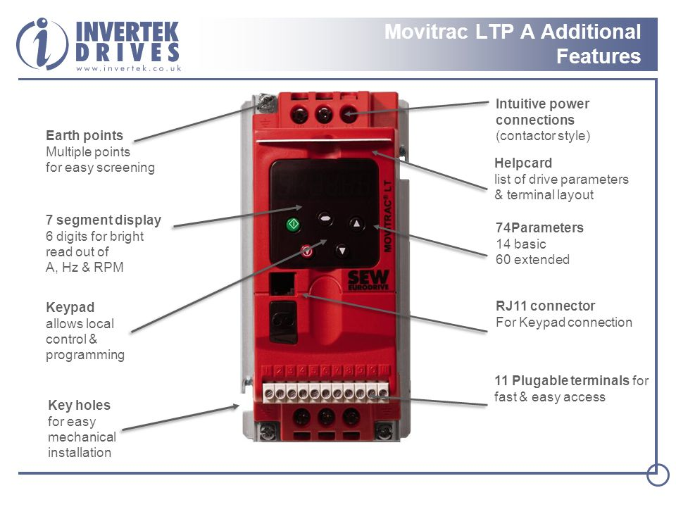 Movitrac LTP A Additional Features
