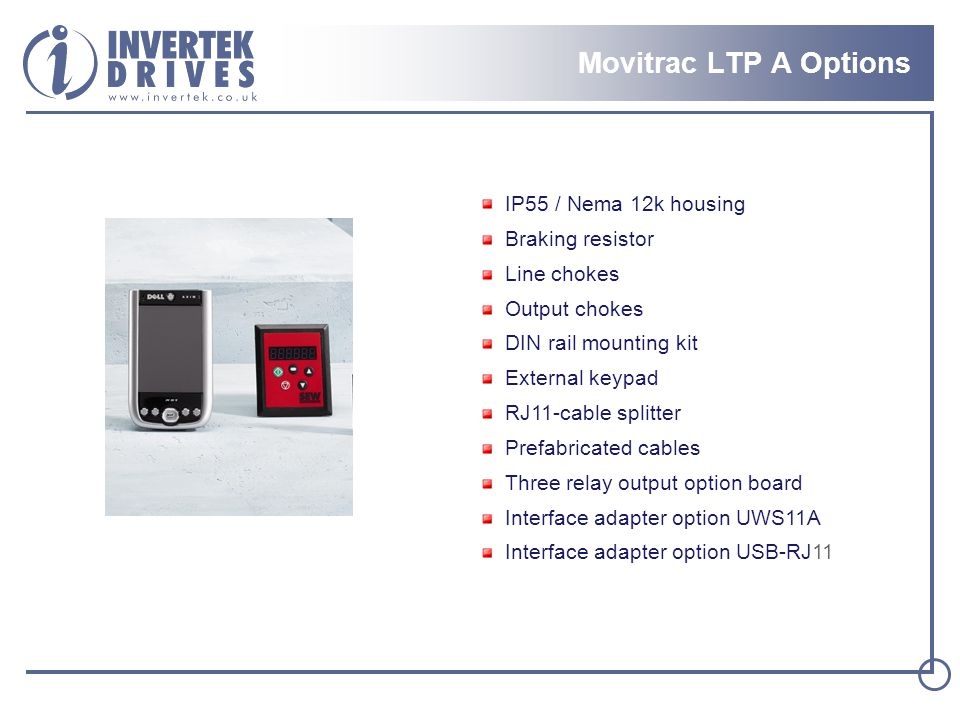 Movitrac LTP A Options IP55 / Nema 12k housing Braking resistor