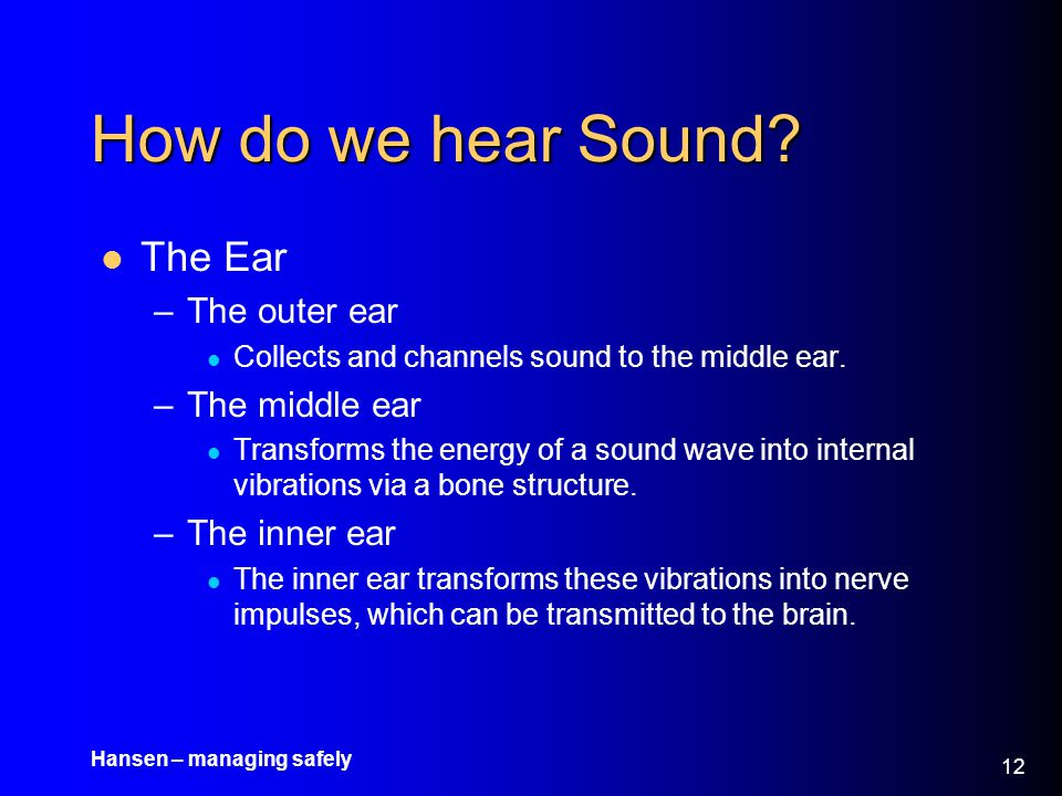 How do we hear Sound The Ear The outer ear The middle ear