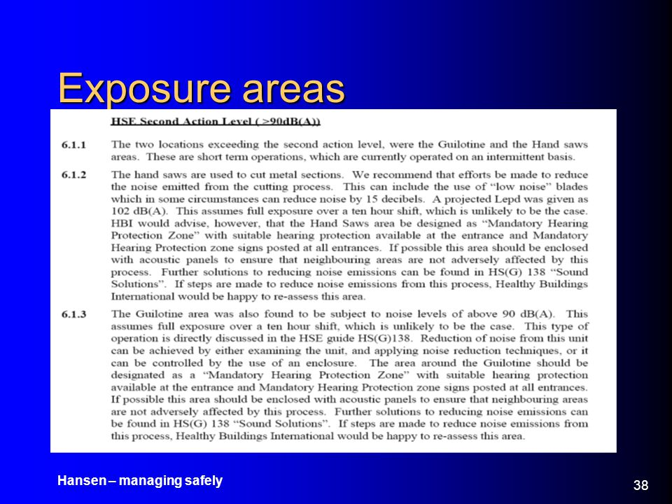 Exposure areas Hansen – managing safely