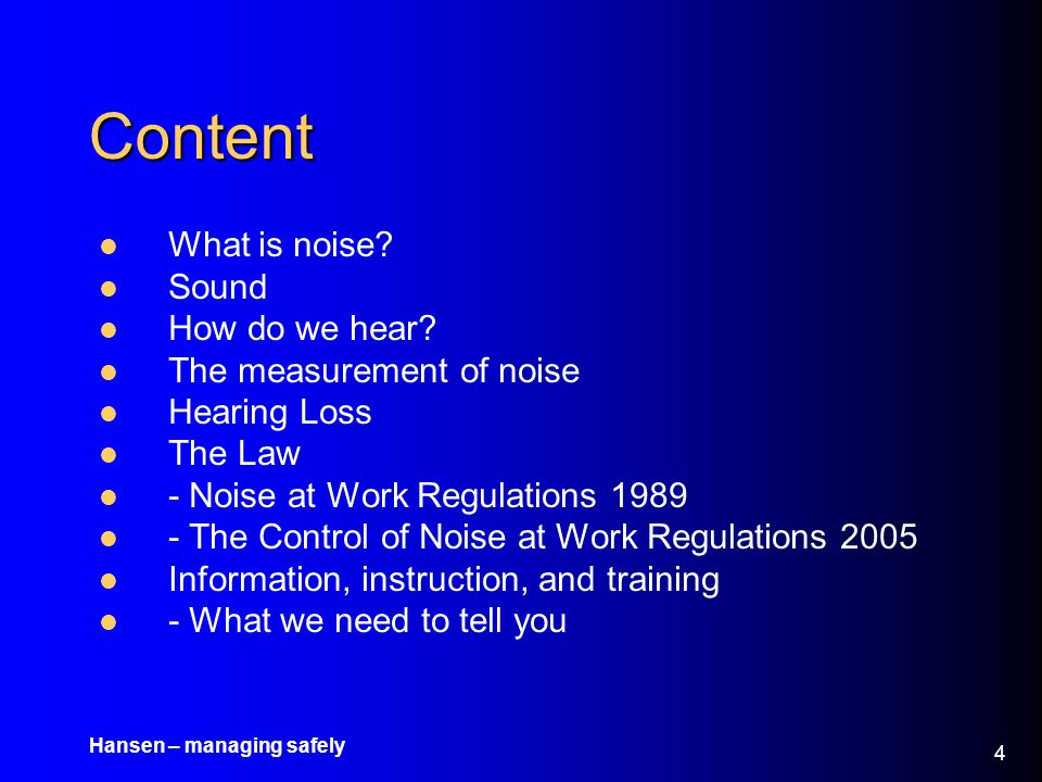 Content What is noise Sound How do we hear The measurement of noise