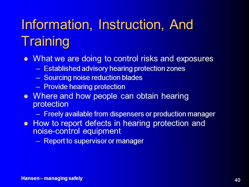 Information, Instruction, And Training