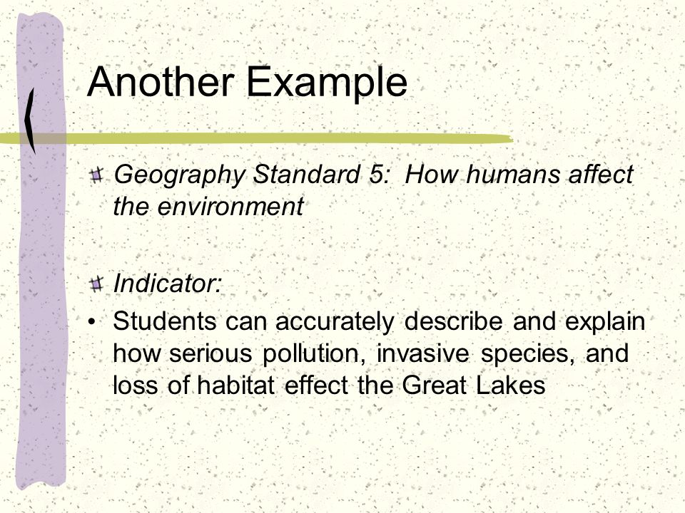 Another Example Geography Standard 5: How humans affect the environment. Indicator: