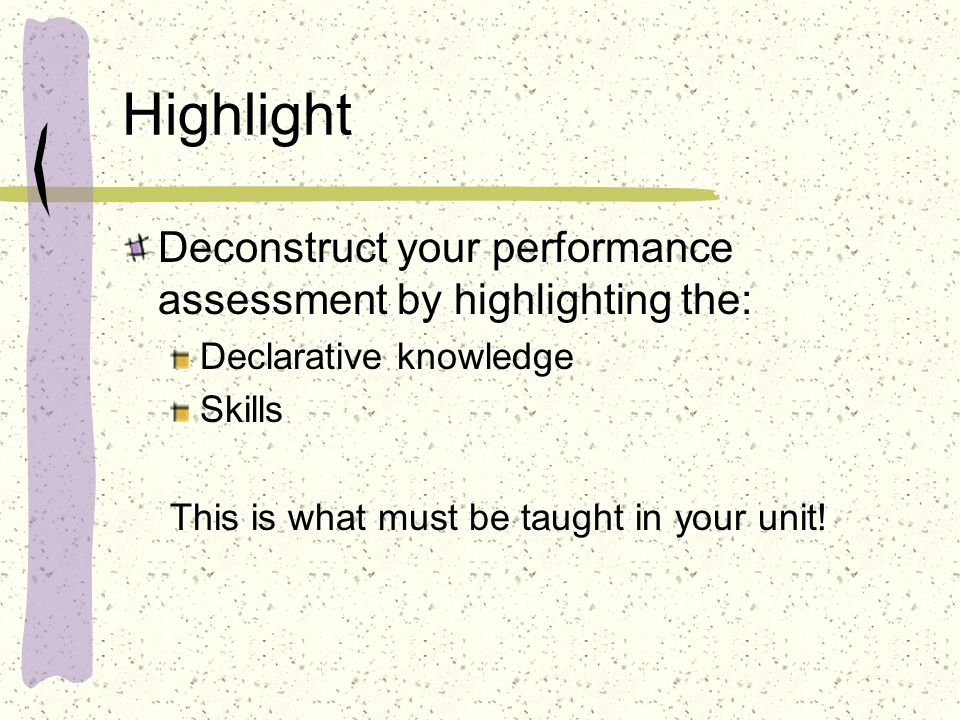 Highlight Deconstruct your performance assessment by highlighting the: