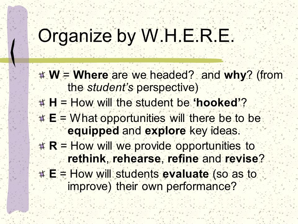 Organize by W.H.E.R.E. W = Where are we headed and why (from the student's perspective) H = How will the student be 'hooked'