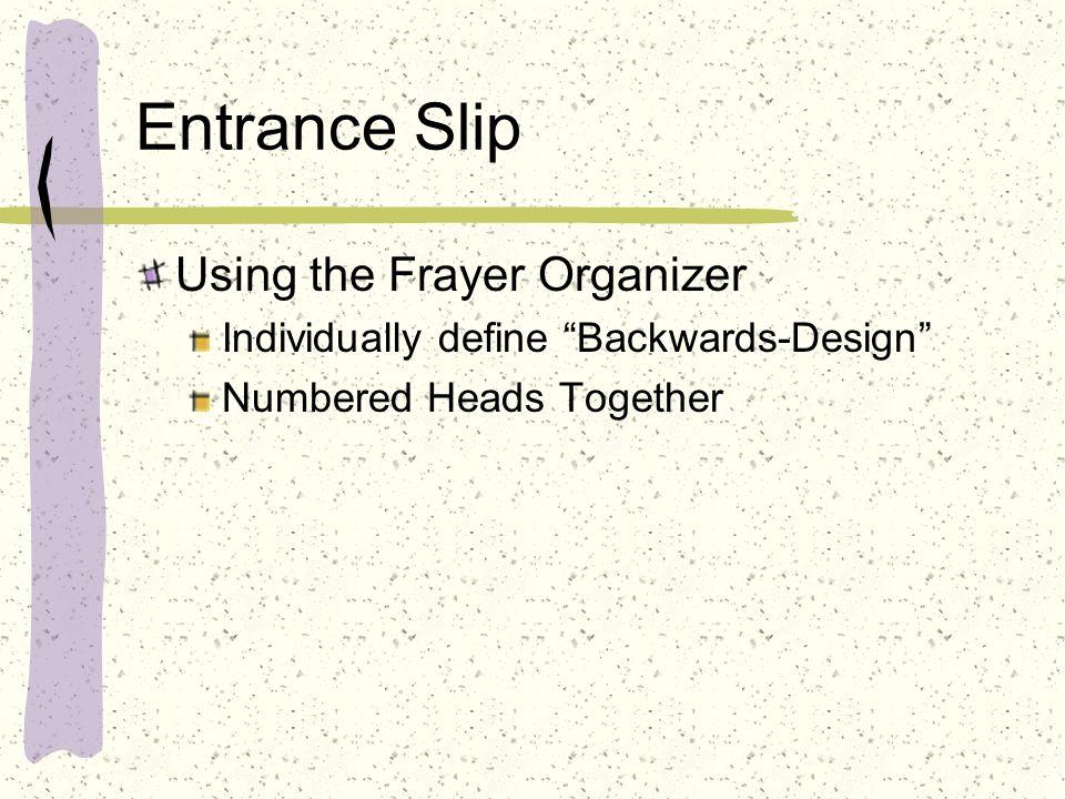 Entrance Slip Using the Frayer Organizer