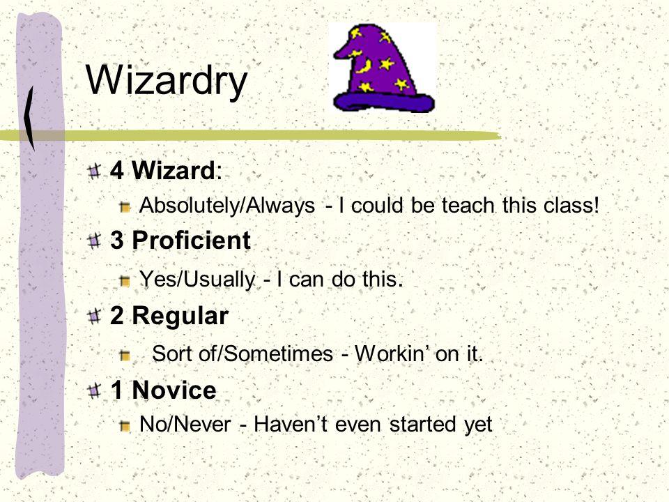 Wizardry 4 Wizard: 3 Proficient 2 Regular 1 Novice