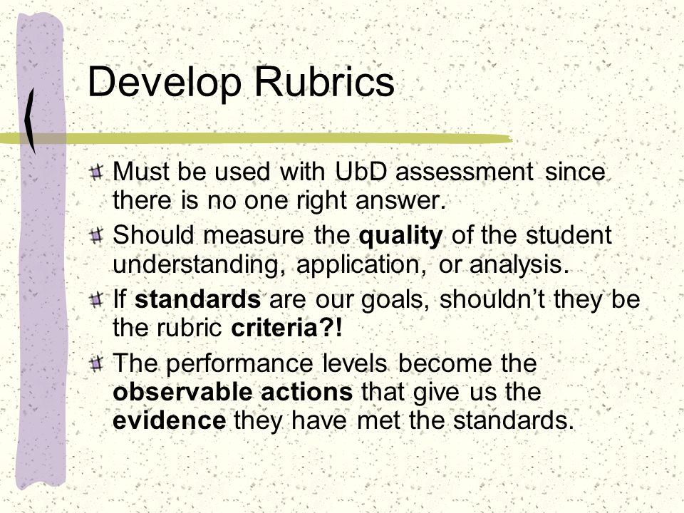 Develop Rubrics Must be used with UbD assessment since there is no one right answer.