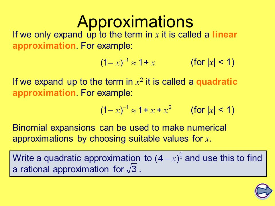 how to get the x value for linear approximation