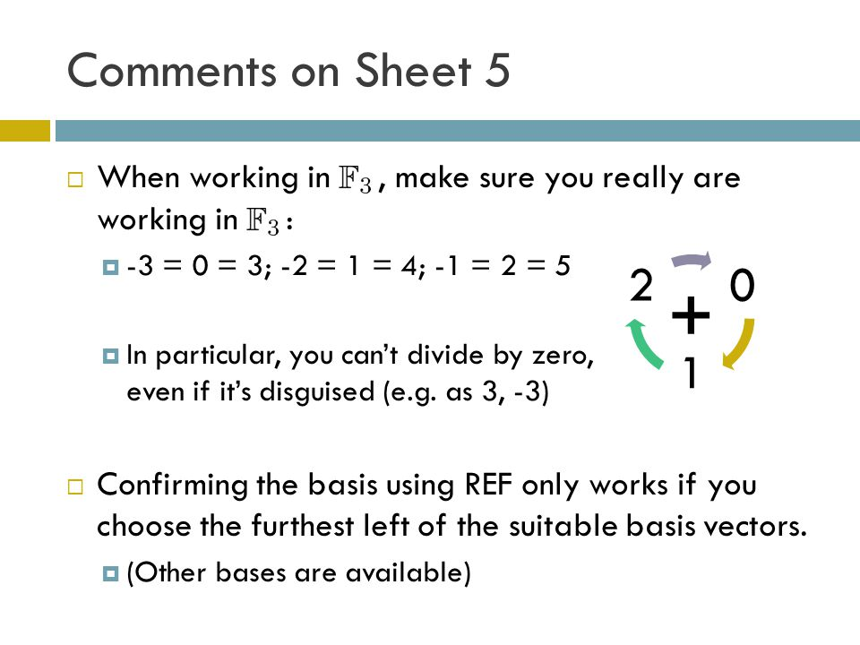 Comments on Sheet 5 When working in , make sure you really are working in : -3 = 0 = 3; -2 = 1 = 4; -1 = 2 = 5.