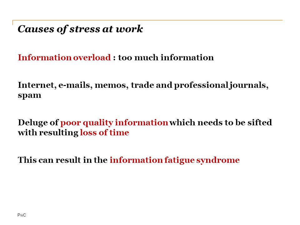 Causes of stress at work