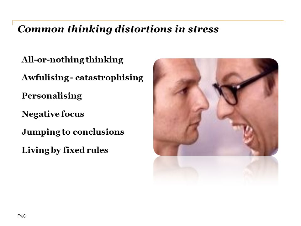 Common thinking distortions in stress