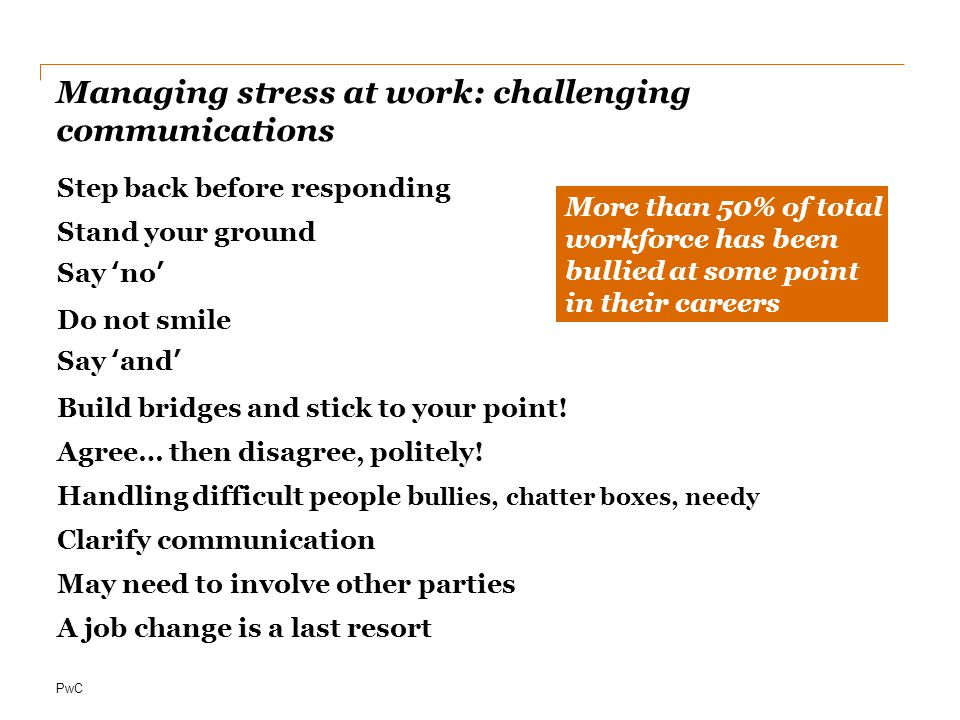 Managing stress at work: challenging communications