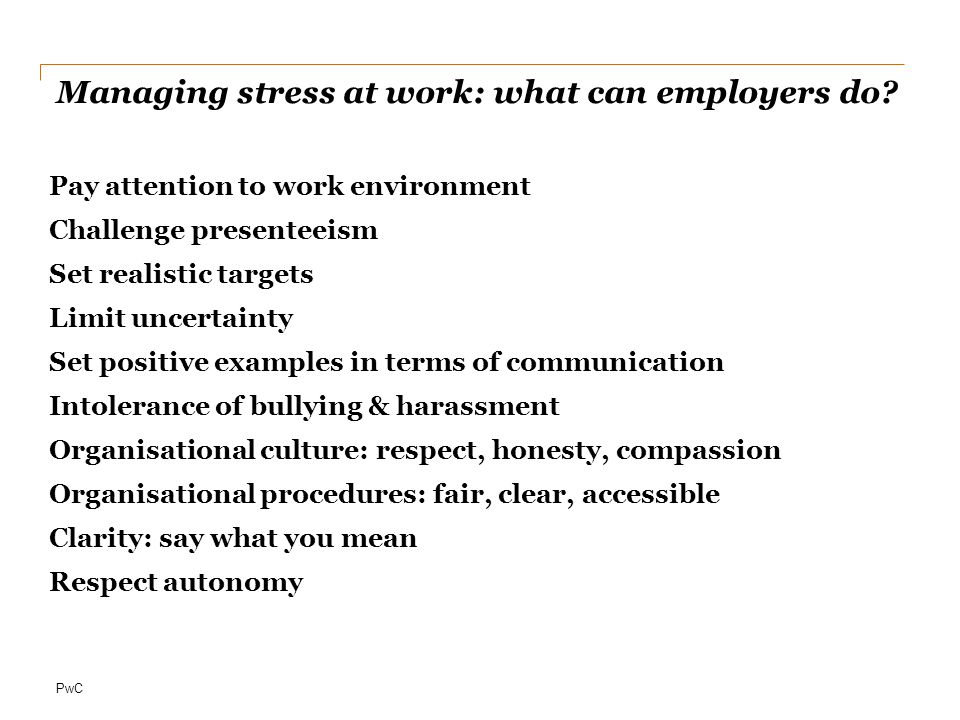 Managing stress at work: what can employers do