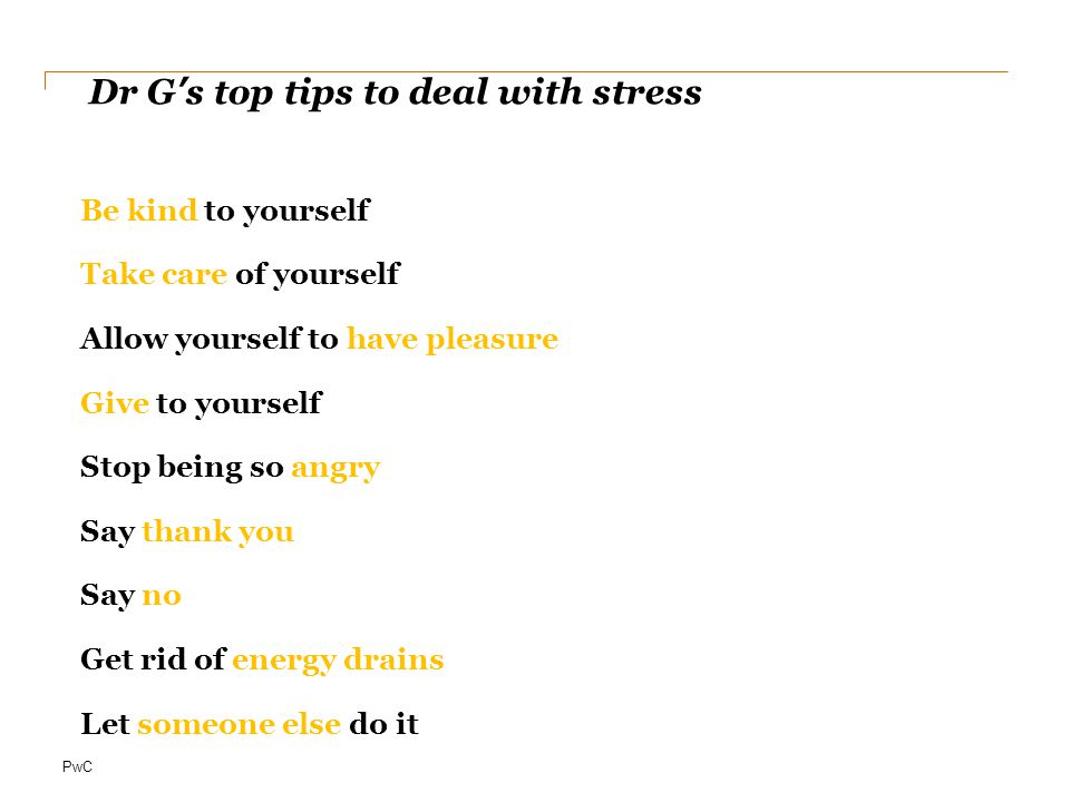 Dr G's top tips to deal with stress