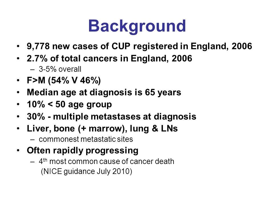 Background 9,778 new cases of CUP registered in England, 2006