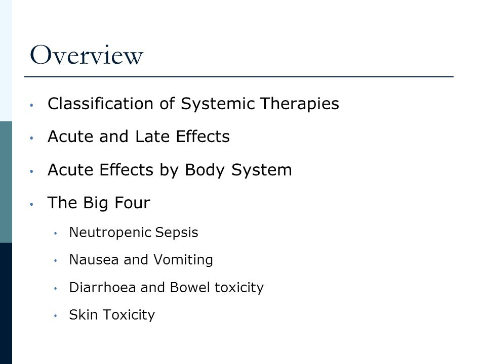 Overview Classification of Systemic Therapies Acute and Late Effects