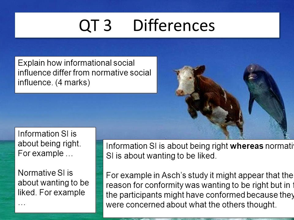 QT 3 Differences Explain how informational social influence differ from normative social influence. (4 marks)