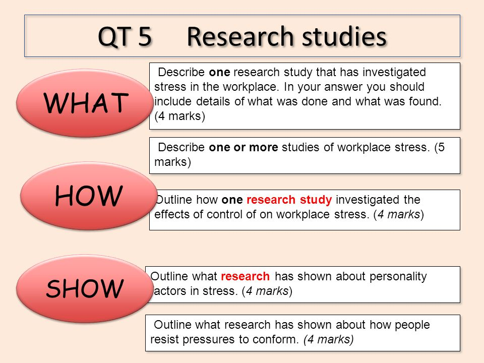 QT 5 Research studies WHAT HOW SHOW