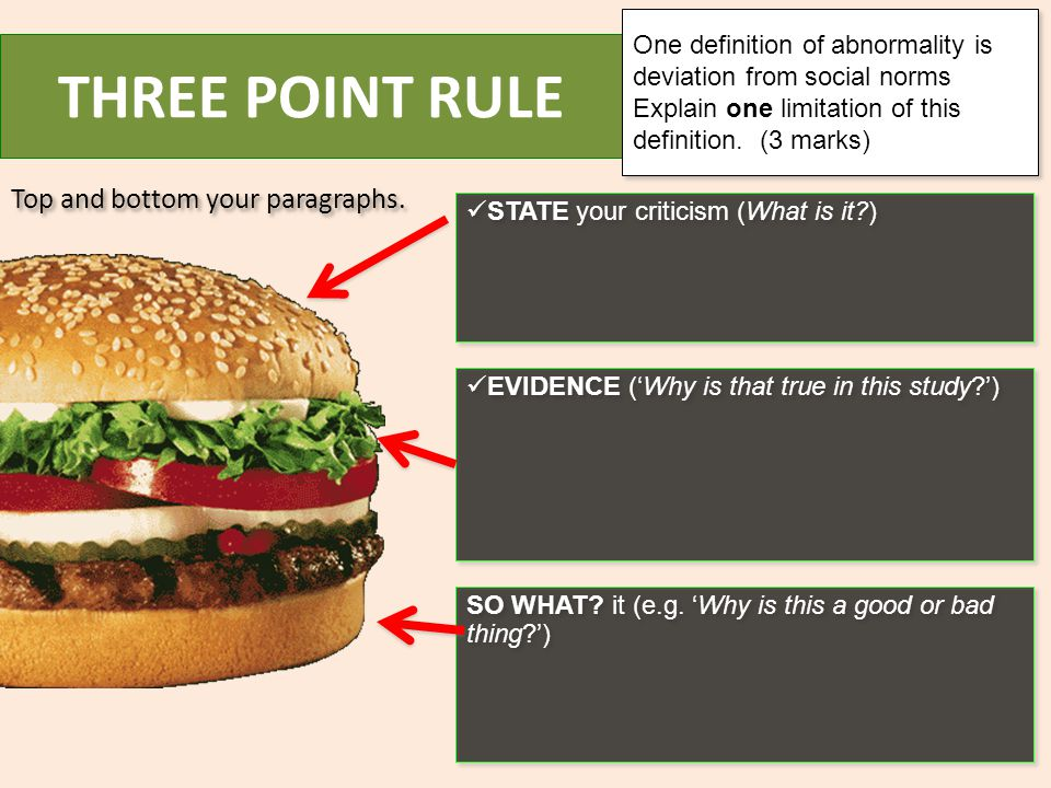 THREE POINT RULE Top and bottom your paragraphs.