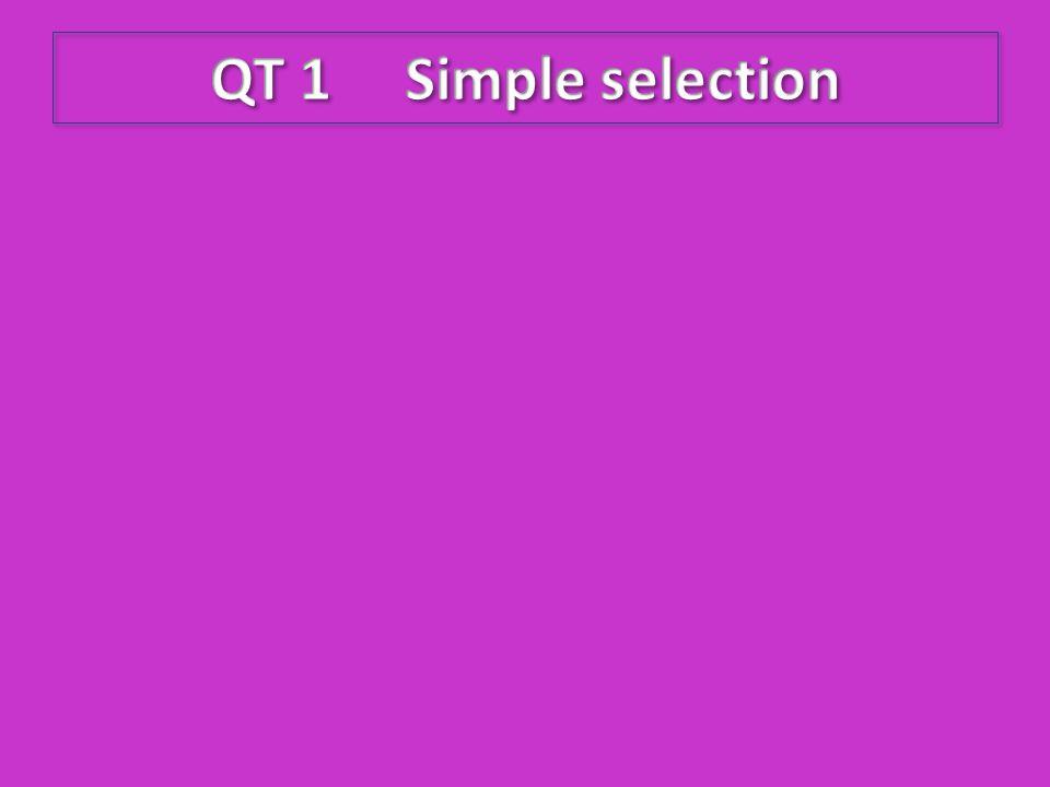 QT 1 Simple selection