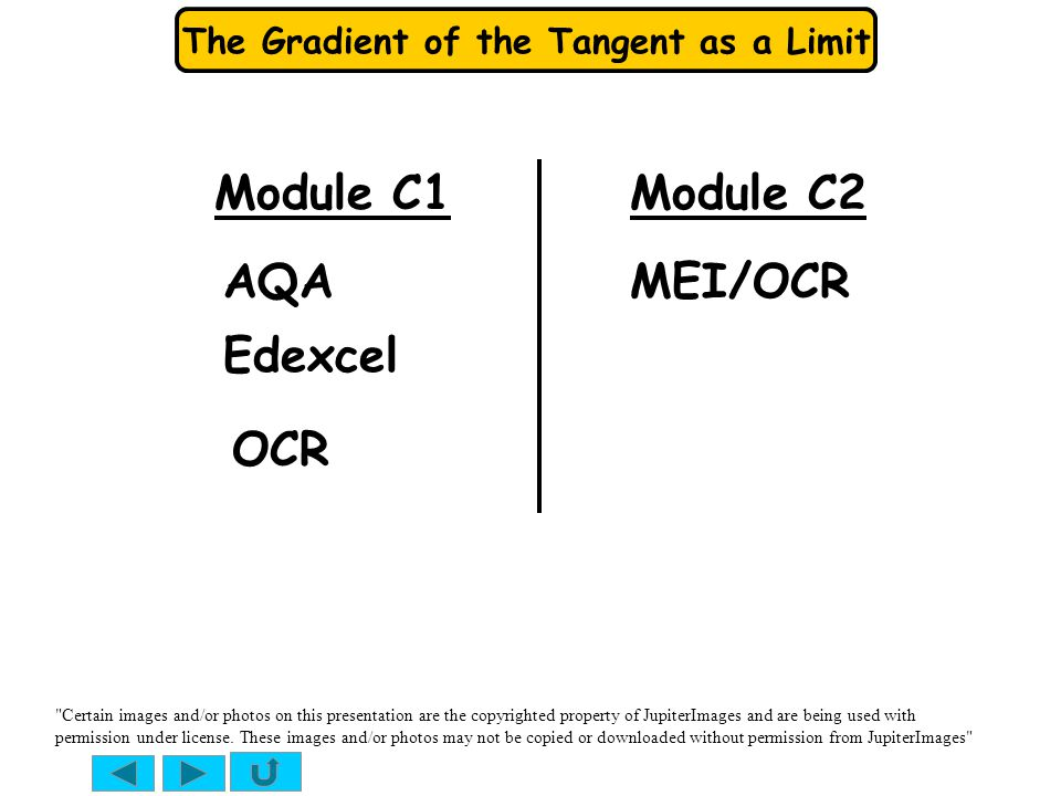 Module C1 Module C2 AQA MEI/OCR Edexcel OCR