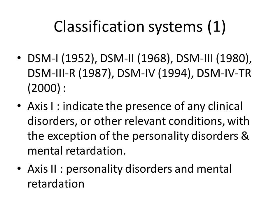Classification systems (1)