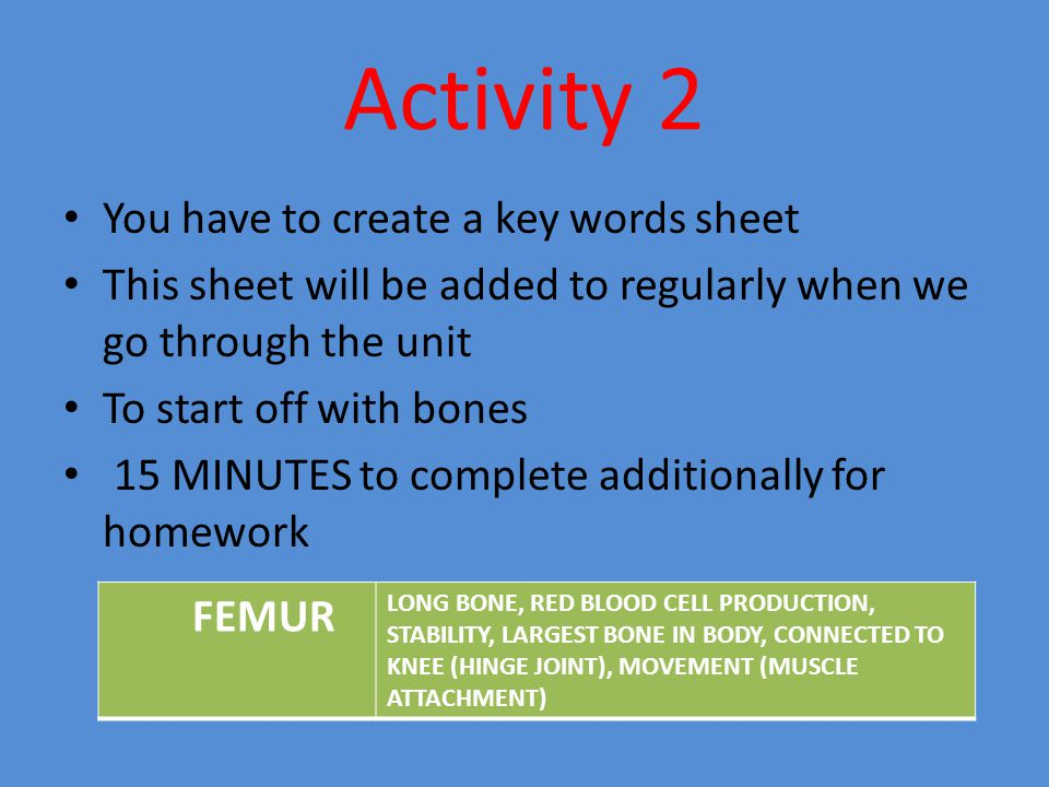 Activity 2 You have to create a key words sheet