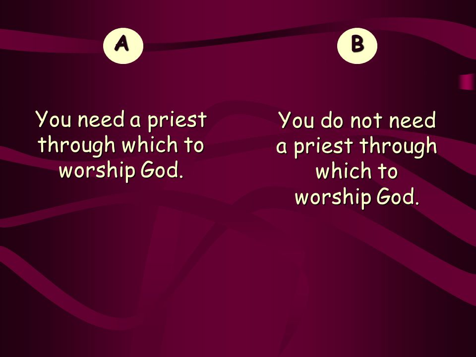 You need a priest through which to worship God. B