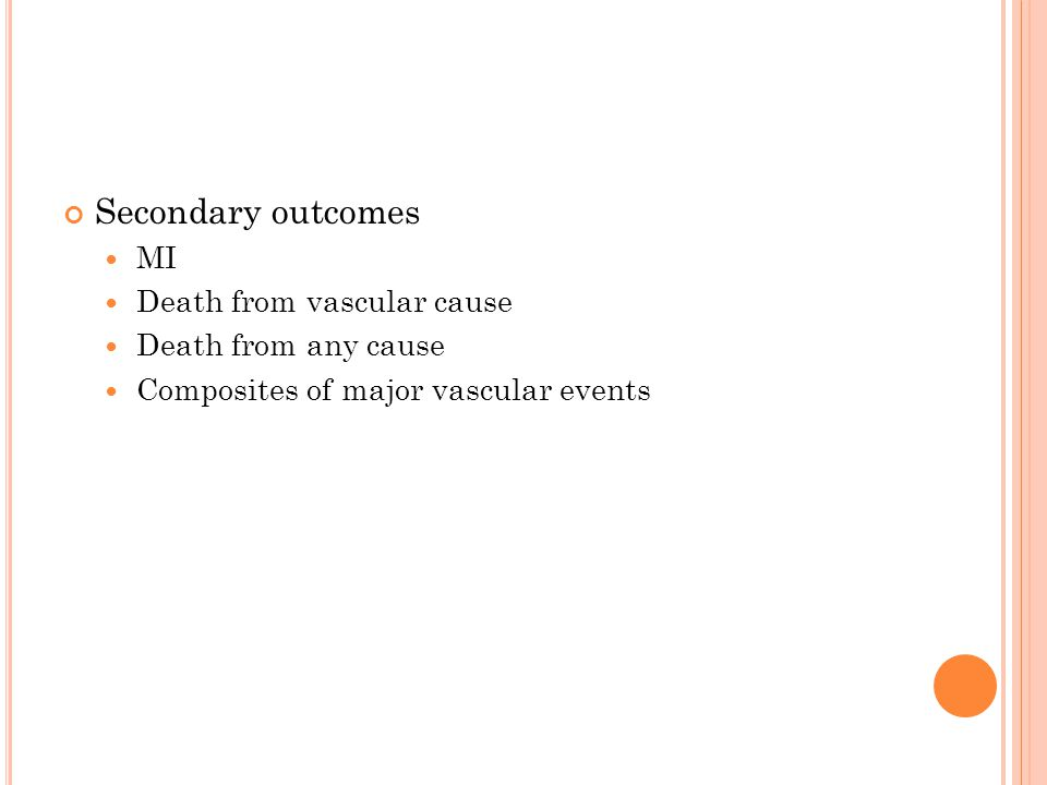 Secondary outcomes MI Death from vascular cause Death from any cause