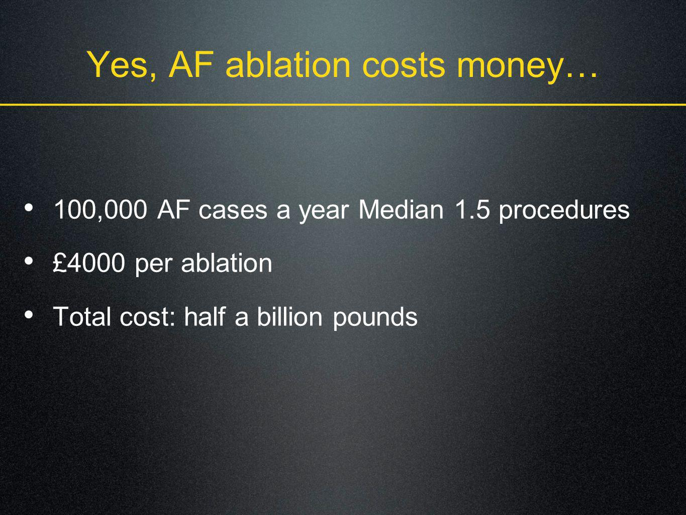 Yes, AF ablation costs money…
